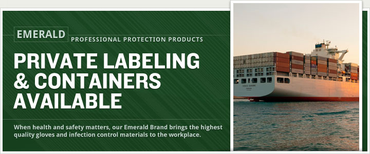 banner with picture of cargo ship carrying boxes of protective gloves
