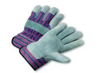 picture of safety cuff leather palm work gloves