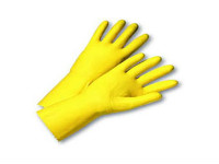 picture of yellow flock lined gloves