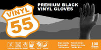 picture of box of black vinyl gloves