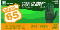 picture of box of green vinyl gloves