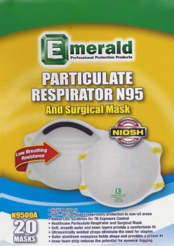 picture of box of Emerald N95 masks
