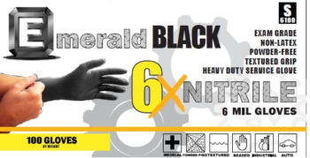 picture of box of Emerald Black 6X nitrile gloves