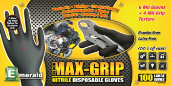 picture of box of Emerald Black Max-Grip notrile gloves