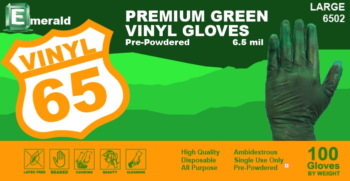 picture of box of Emerald Green vinyl general purpose gloves