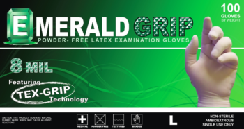 picture of box of Emerald Grip powder-free latex exam gloves