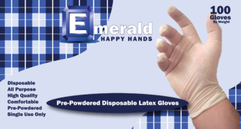 picture of box of Happy Hands powdered latex general purpose gloves