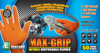 picture of box of Emerald Black Max-Grip nitrile gloves