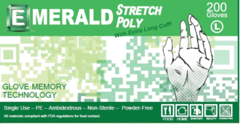 picture of box of Emerald stretch poly gloves