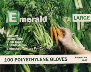 picture of box of Emerald polyethylene gloves