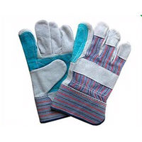 picture of pair of safety cuff double leather palm gloves