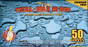 picture of box of Total-Max Hi Risk powder-free latex exam gloves