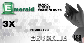 picture of box of 3X Black nitrile exam gloves