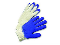 picture of blue string knit gloves