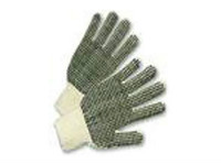 picture of string knit gloves with black pvc dots