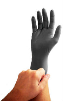 picture of hand wearing black disposable glove