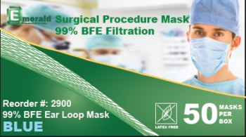 picture of box of Emerald 99% BFE surgical masks