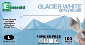 picture of box of Emerald Glacier White nitrile gloves