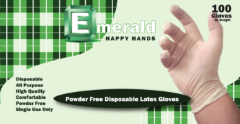 picture of box of Happy Hands powder-free latex general purpose gloves