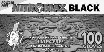 picture of box of Emerald Nitromax Black nitrile gloves