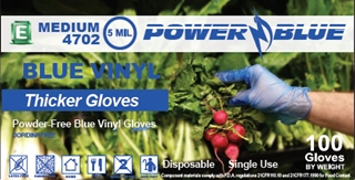 picture of box of Shannon Power Blue vinyl general purpose gloves