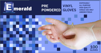 picture of box of Shannon powdered vinyl general purpose gloves