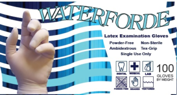 picture of box of Waterforde powder-free latex exam gloves