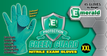 picture of box of Green Guard nitrile exam gloves