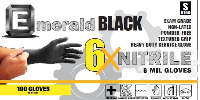picture of box of Emerald 6X Black nitrile exam gloves
