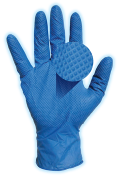 picture of Blue Guard nitrile exam glove showing texture