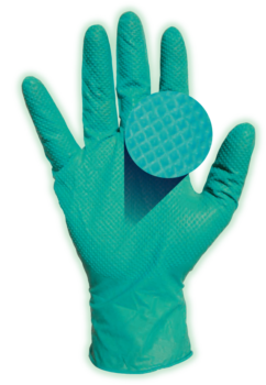 picture of Green Guard nitrile exam glove showing texture